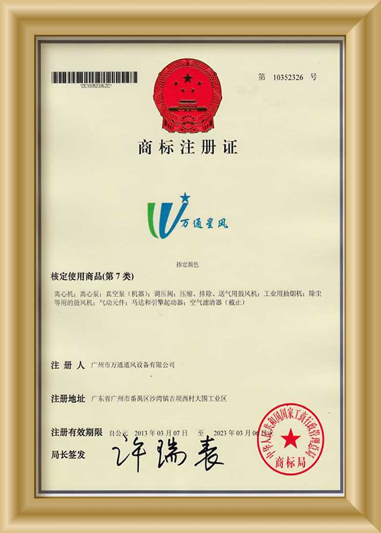万通星风商标注册证书